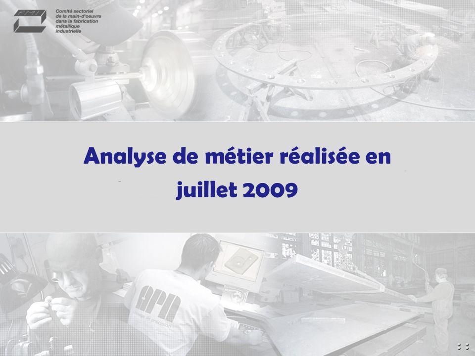 Analyse de métier réalisée en juillet 2009