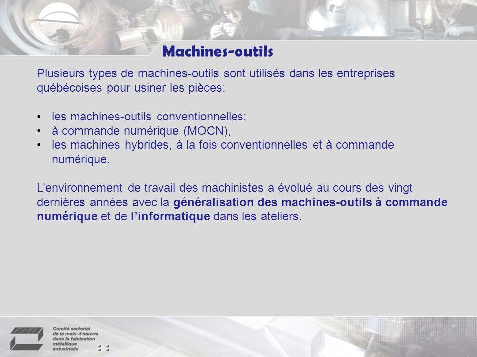 Machines-outils Plusieurs types de machines-outils sont utilisés dans les entreprises québécoises pour usiner les pièces: les machines-outils conventionnelles; à commande numérique (MOCN), les machines hybrides, à la fois conventionnelles et à commande numérique.