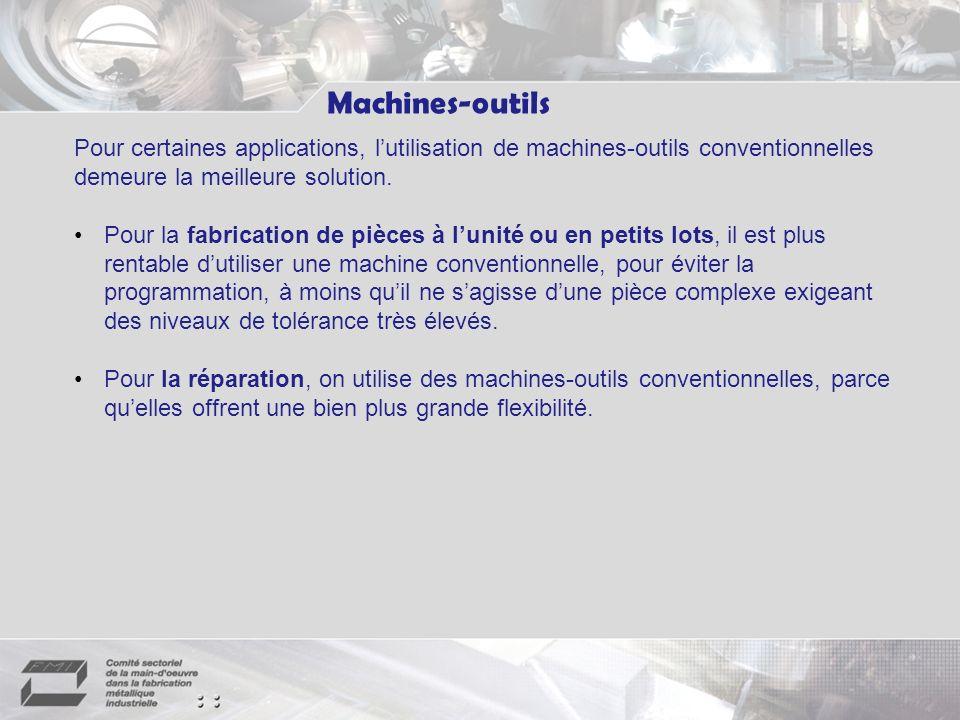 Machines-outils Pour certaines applications, lutilisation de machines-outils conventionnelles demeure la meilleure solution.