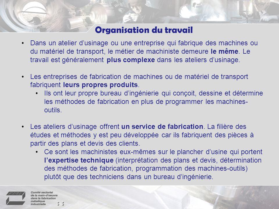 Organisation du travail Dans un atelier dusinage ou une entreprise qui fabrique des machines ou du matériel de transport, le métier de machiniste demeure le même.