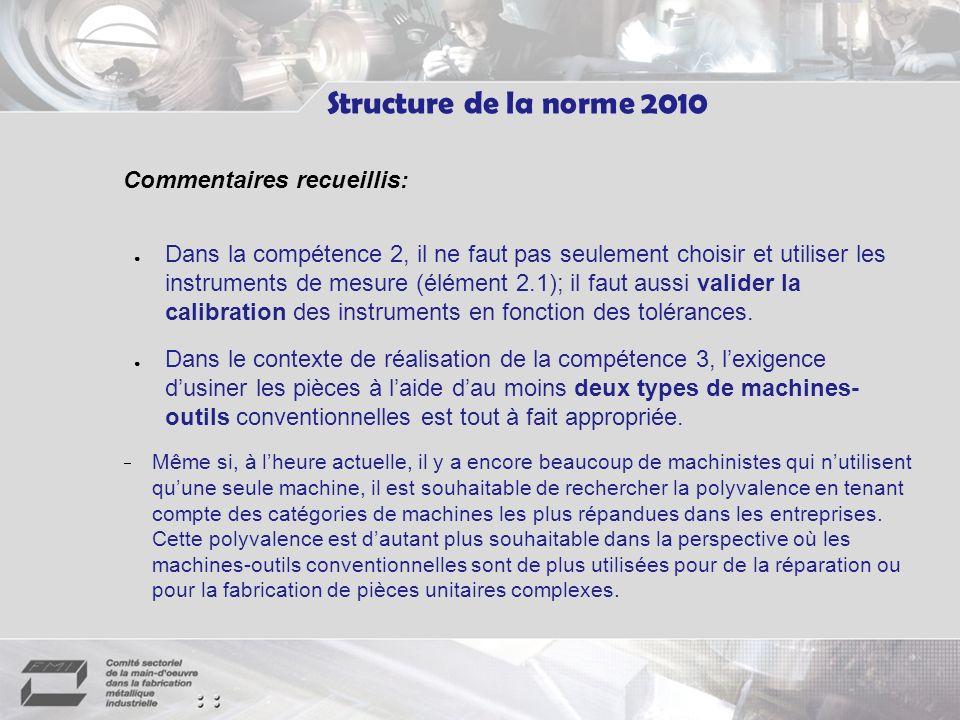 Commentaires recueillis: Dans la compétence 2, il ne faut pas seulement choisir et utiliser les instruments de mesure (élément 2.1); il faut aussi valider la calibration des instruments en fonction des tolérances.
