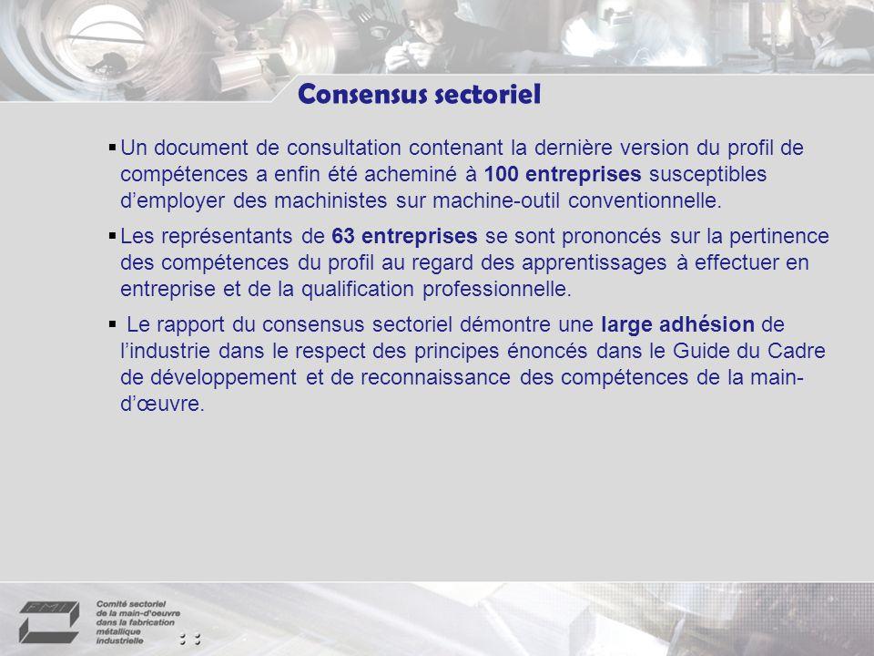 Un document de consultation contenant la dernière version du profil de compétences a enfin été acheminé à 100 entreprises susceptibles demployer des machinistes sur machine-outil conventionnelle.