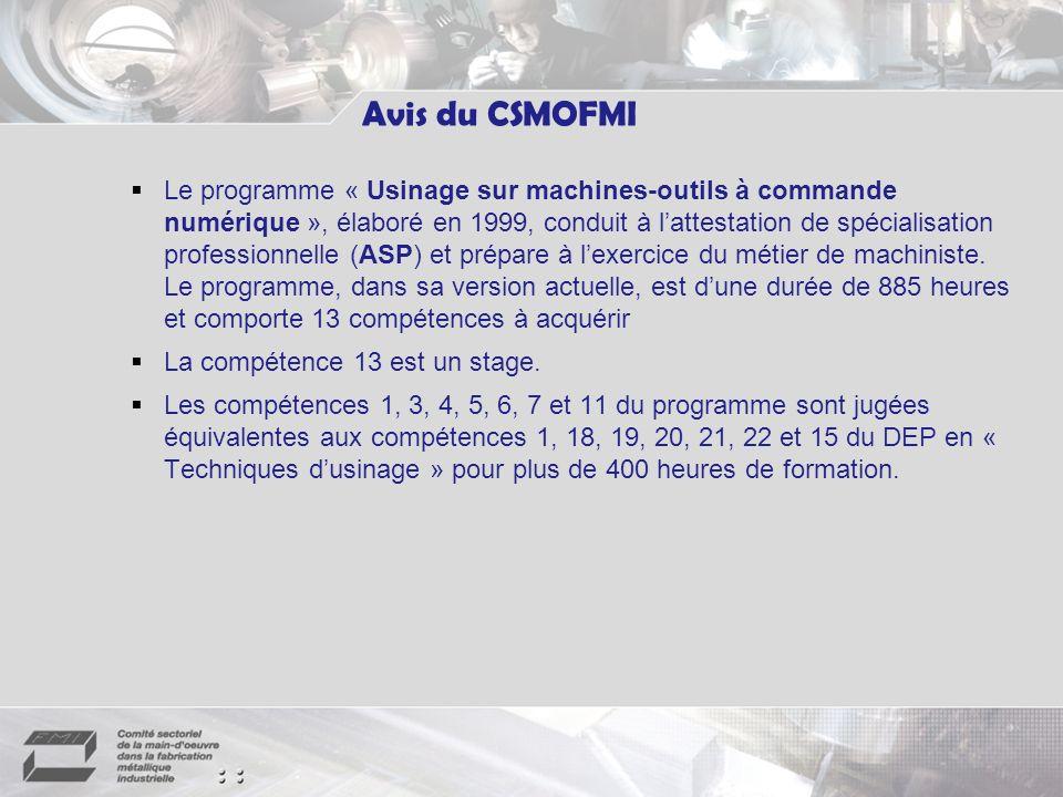 Le programme « Usinage sur machines-outils à commande numérique », élaboré en 1999, conduit à lattestation de spécialisation professionnelle (ASP) et prépare à lexercice du métier de machiniste.
