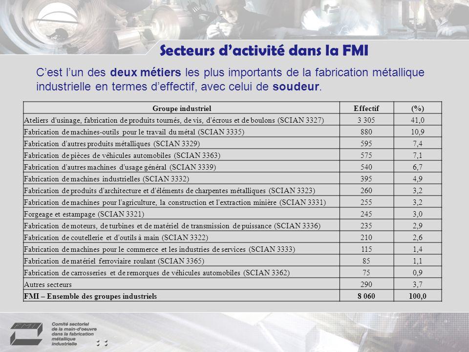 Secteurs dactivité dans la FMI Cest lun des deux métiers les plus importants de la fabrication métallique industrielle en termes deffectif, avec celui de soudeur.