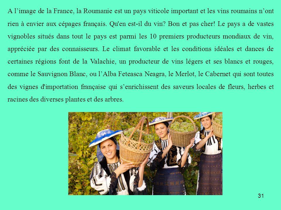 A limage de la France, la Roumanie est un pays viticole important et les vins roumains nont rien à envier aux cépages français. Qu'en est-il du vin? B