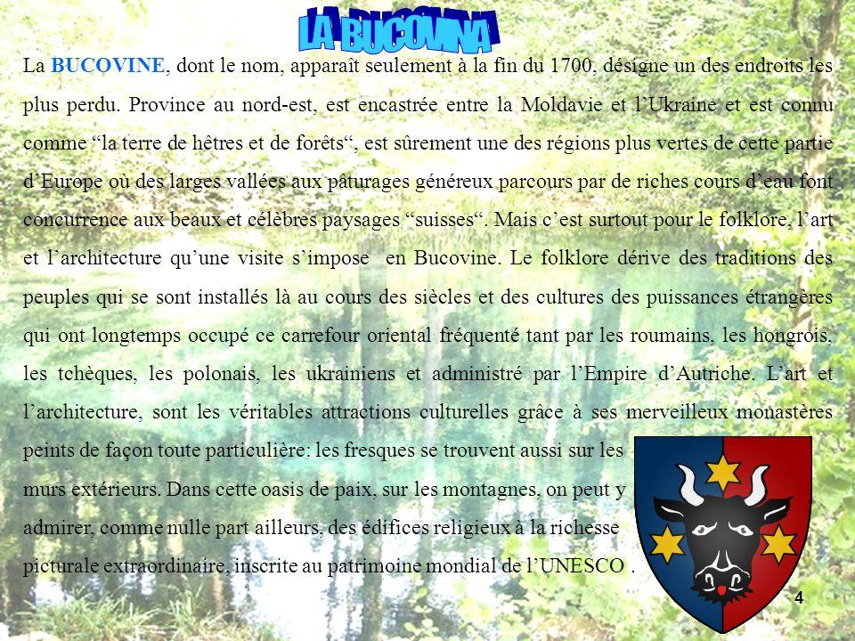 La BUCOVINE, dont le nom, apparaît seulement à la fin du 1700, désigne un des endroits les plus perdu. Province au nord-est, est encastrée entre la Mo