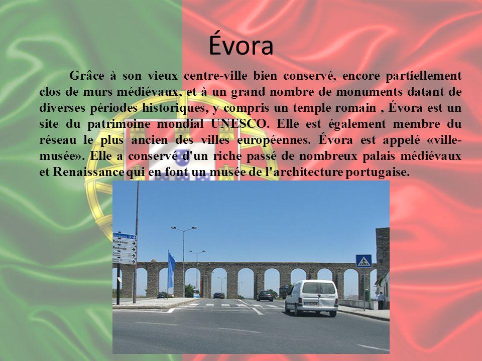 Évora La ville est à 140 km de la capitale, Lisbonne et à 80 km de Badajoz à la frontière espagnole.