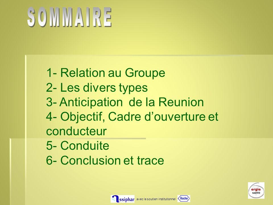 avec le soutien institutionnel 1 1- Relation au Groupe 2- Les divers types 3- Anticipation de la Reunion 4- Objectif, Cadre douverture et conducteur 5