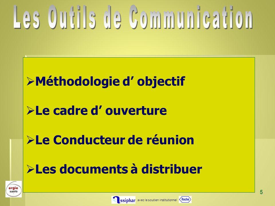 avec le soutien institutionnel 5 Méthodologie d objectif Le cadre d ouverture Le Conducteur de réunion Les documents à distribuer