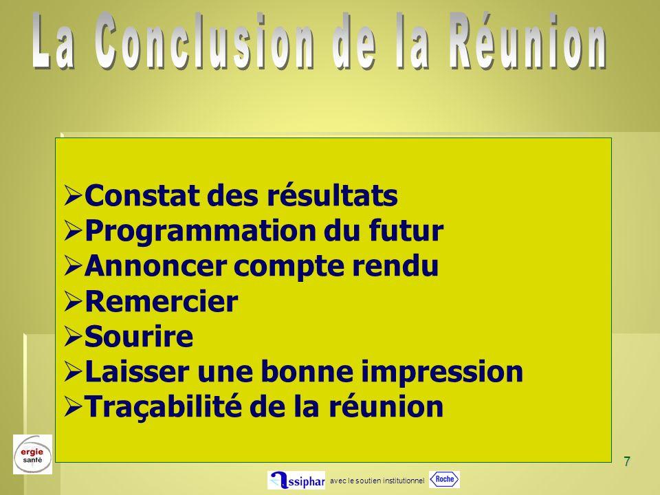 avec le soutien institutionnel 7 Constat des résultats Programmation du futur Annoncer compte rendu Remercier Sourire Laisser une bonne impression Tra