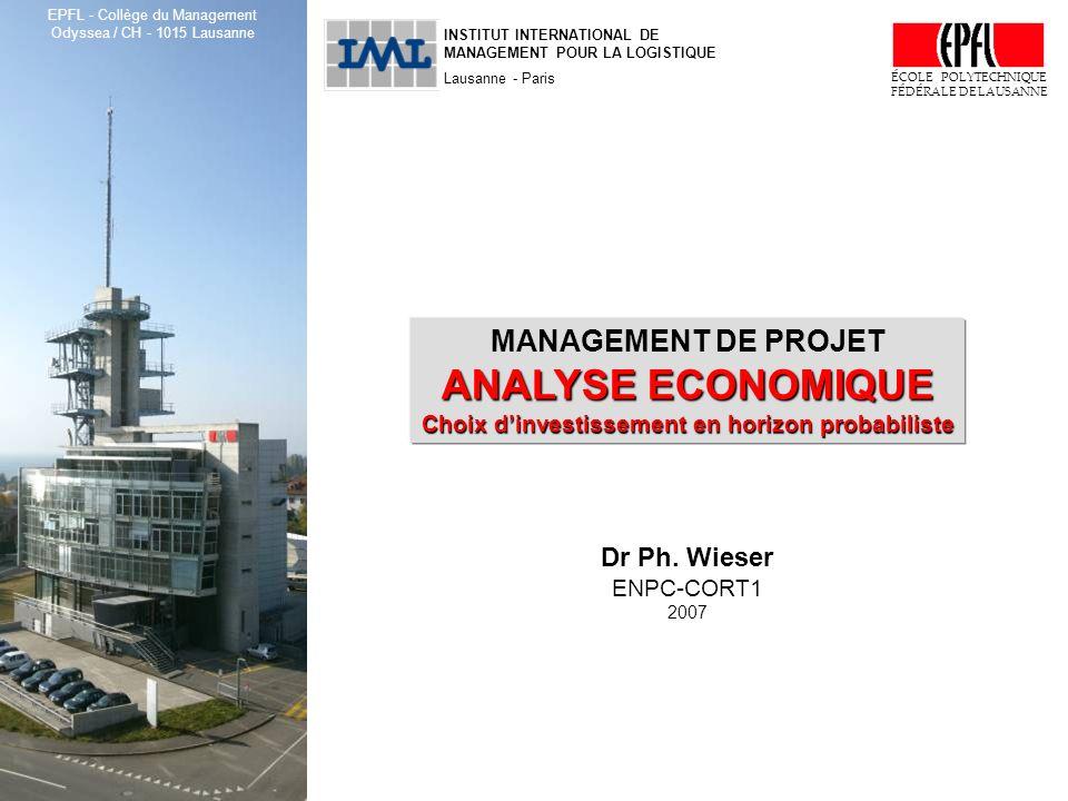 ENPC-CORT1, Management de projet : analyse économique, choix dinvestissement © Ph. Wieser, EPFL, 2007 1 INSTITUT INTERNATIONAL DE MANAGEMENT POUR LA L