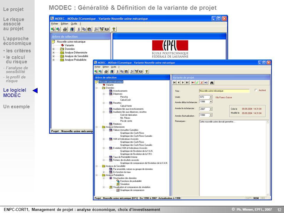 ENPC-CORT1, Management de projet : analyse économique, choix dinvestissement © Ph. Wieser, EPFL, 2007 12 Le projet Le risque associé au projet Lapproc