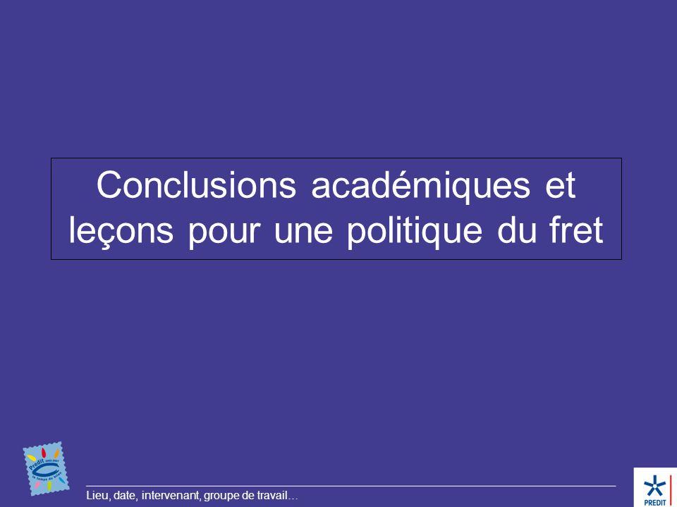 Lieu, date, intervenant, groupe de travail… Conclusions académiques et leçons pour une politique du fret