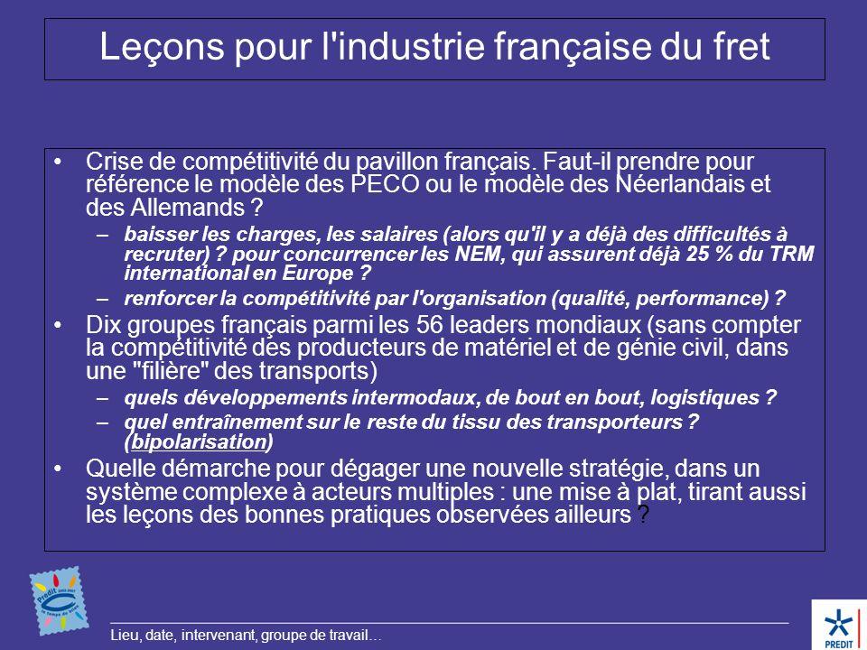 Lieu, date, intervenant, groupe de travail… Leçons pour l'industrie française du fret Crise de compétitivité du pavillon français. Faut-il prendre pou