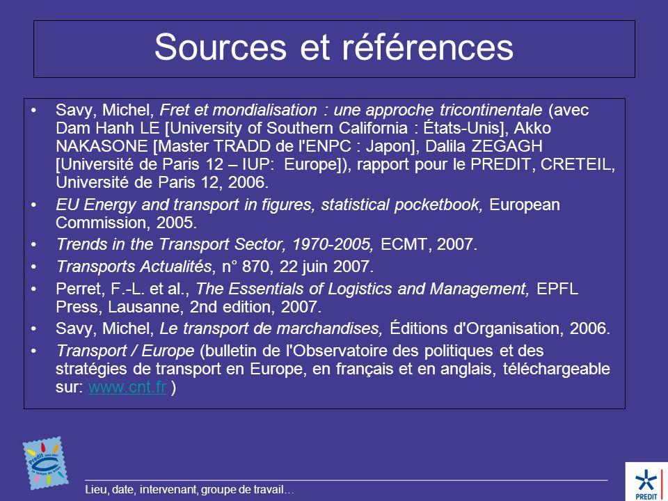 Lieu, date, intervenant, groupe de travail… Sources et références Savy, Michel, Fret et mondialisation : une approche tricontinentale (avec Dam Hanh L