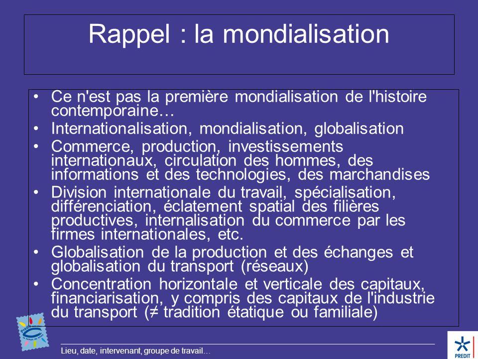 Lieu, date, intervenant, groupe de travail… Rappel : la mondialisation Ce n'est pas la première mondialisation de l'histoire contemporaine… Internatio
