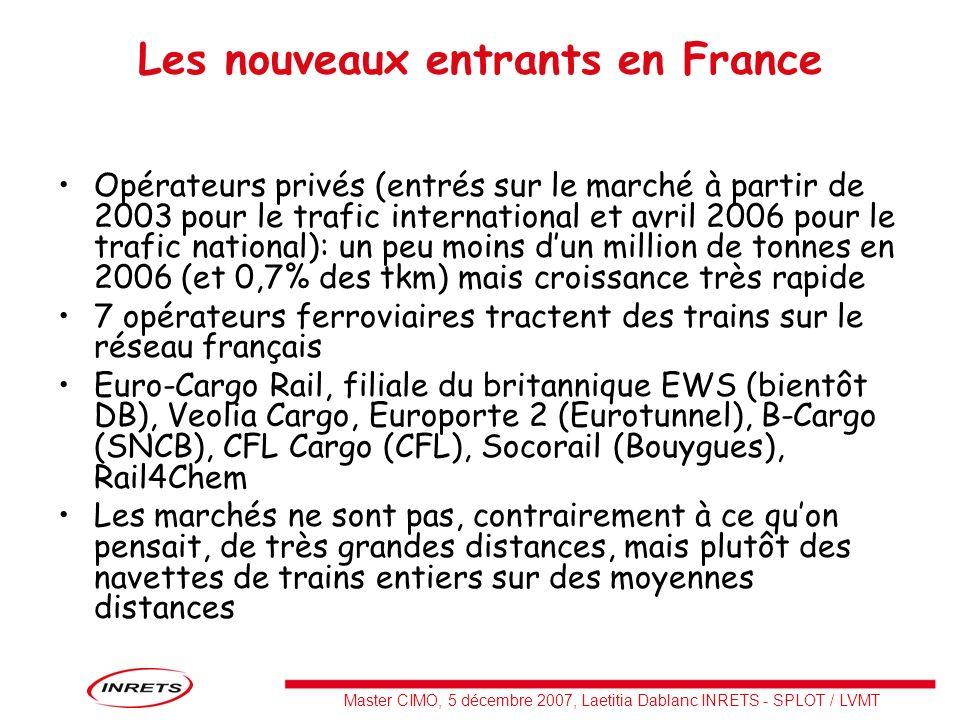 Master CIMO, 5 décembre 2007, Laetitia Dablanc INRETS - SPLOT / LVMT Les nouveaux entrants en France Opérateurs privés (entrés sur le marché à partir