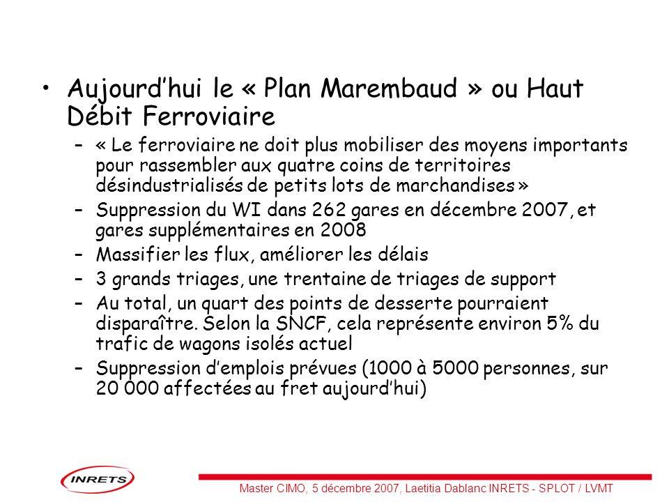 Master CIMO, 5 décembre 2007, Laetitia Dablanc INRETS - SPLOT / LVMT Aujourdhui le « Plan Marembaud » ou Haut Débit Ferroviaire –« Le ferroviaire ne d