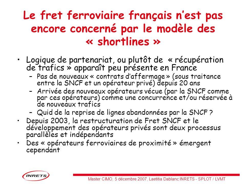 Master CIMO, 5 décembre 2007, Laetitia Dablanc INRETS - SPLOT / LVMT Le fret ferroviaire français nest pas encore concerné par le modèle des « shortli
