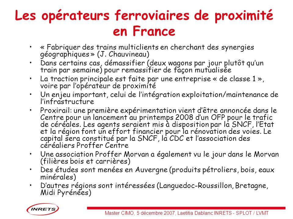 Master CIMO, 5 décembre 2007, Laetitia Dablanc INRETS - SPLOT / LVMT Les opérateurs ferroviaires de proximité en France « Fabriquer des trains multicl