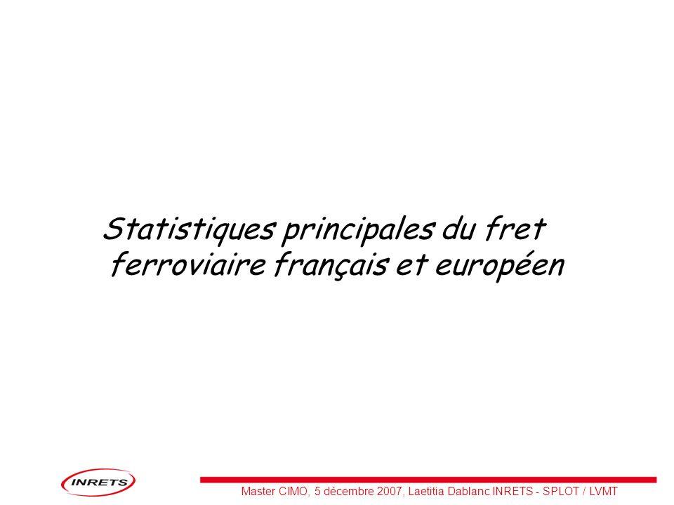 Master CIMO, 5 décembre 2007, Laetitia Dablanc INRETS - SPLOT / LVMT Statistiques principales du fret ferroviaire français et européen