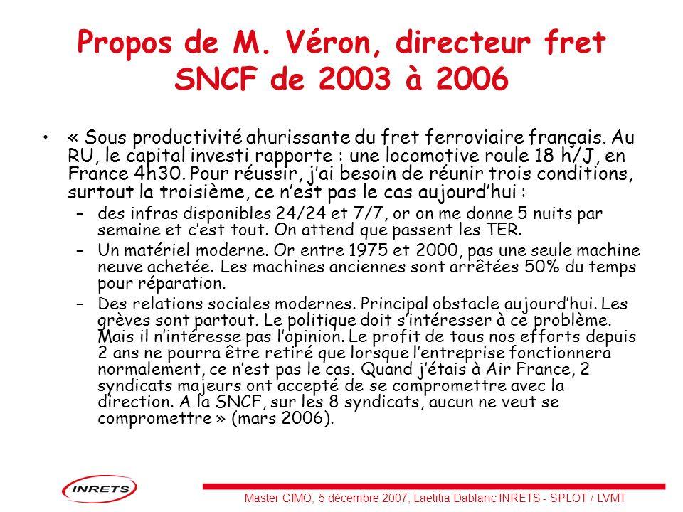 Master CIMO, 5 décembre 2007, Laetitia Dablanc INRETS - SPLOT / LVMT Propos de M. Véron, directeur fret SNCF de 2003 à 2006 « Sous productivité ahuris