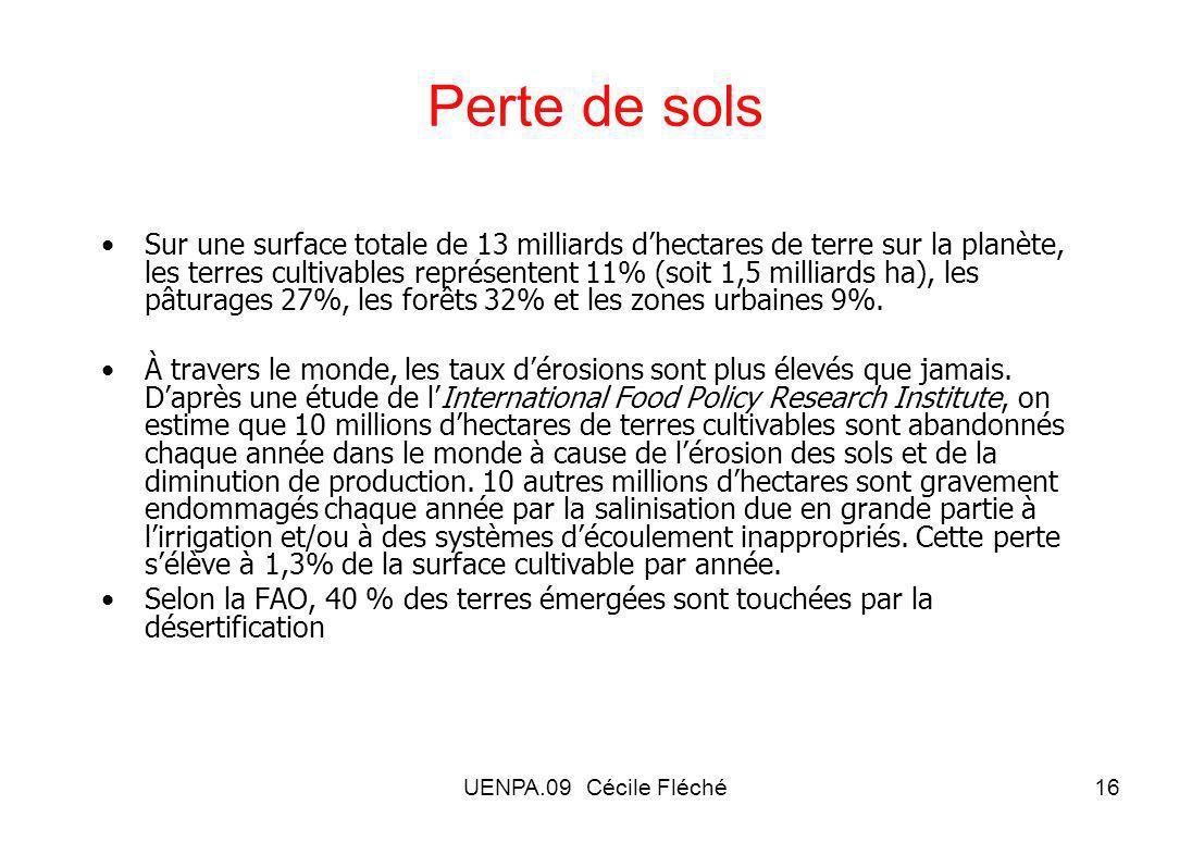 UENPA.09 Cécile Fléché16 Perte de sols Sur une surface totale de 13 milliards dhectares de terre sur la planète, les terres cultivables représentent 11% (soit 1,5 milliards ha), les pâturages 27%, les forêts 32% et les zones urbaines 9%.