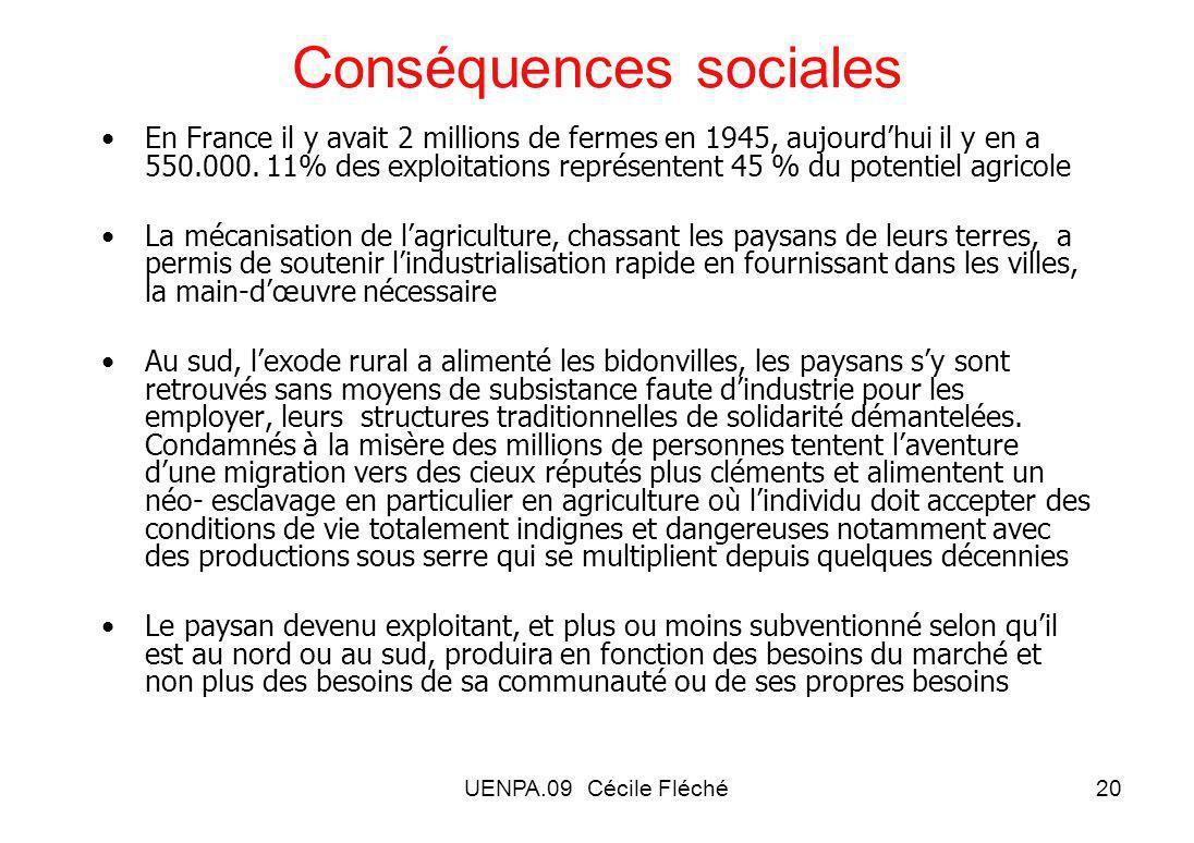 UENPA.09 Cécile Fléché20 Conséquences sociales En France il y avait 2 millions de fermes en 1945, aujourdhui il y en a 550.000.