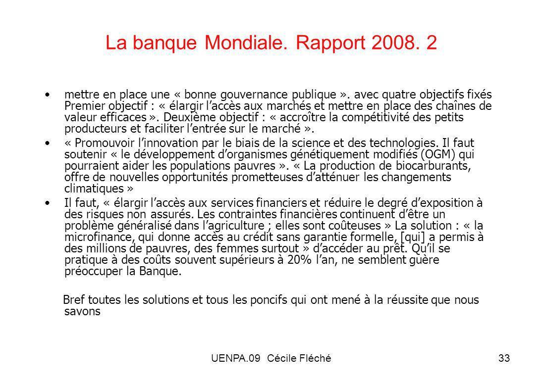 UENPA.09 Cécile Fléché33 La banque Mondiale.Rapport 2008.