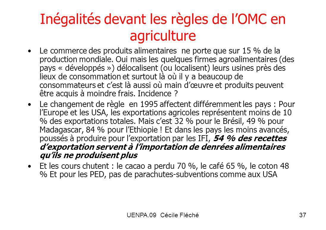 UENPA.09 Cécile Fléché37 Inégalités devant les règles de lOMC en agriculture Le commerce des produits alimentaires ne porte que sur 15 % de la production mondiale.