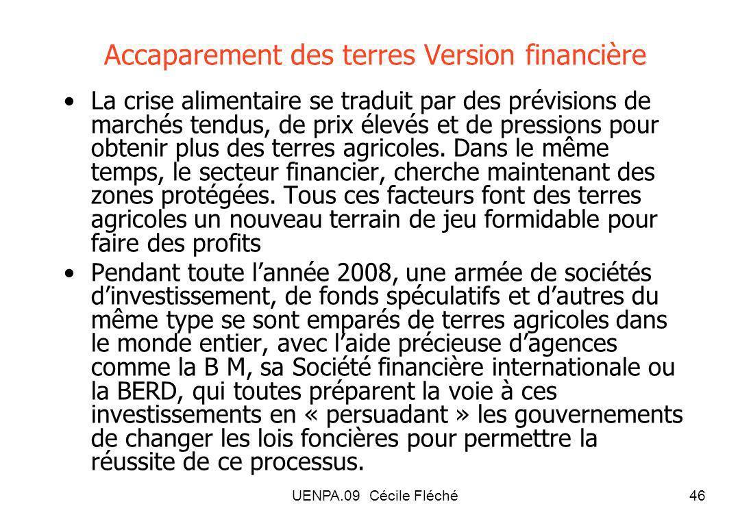 UENPA.09 Cécile Fléché46 Accaparement des terres Version financière La crise alimentaire se traduit par des prévisions de marchés tendus, de prix élevés et de pressions pour obtenir plus des terres agricoles.