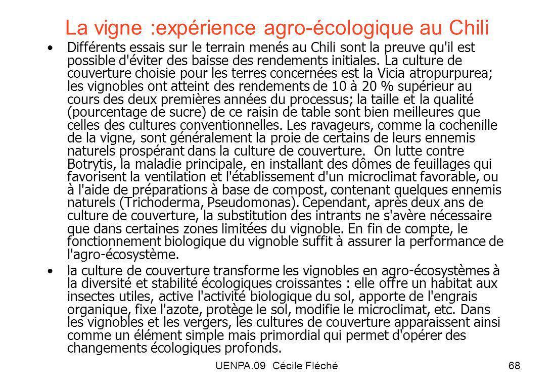 UENPA.09 Cécile Fléché68 La vigne :expérience agro-écologique au Chili Différents essais sur le terrain menés au Chili sont la preuve qu il est possible d éviter des baisse des rendements initiales.