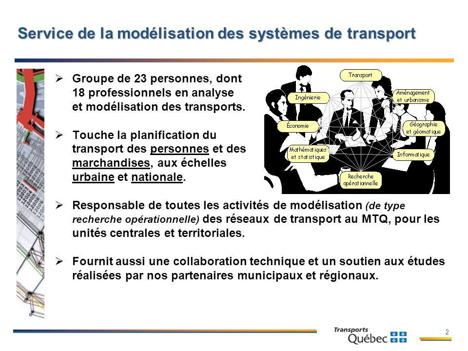 2 Service de la modélisation des systèmes de transport Groupe de 23 personnes, dont 18 professionnels en analyse et modélisation des transports.