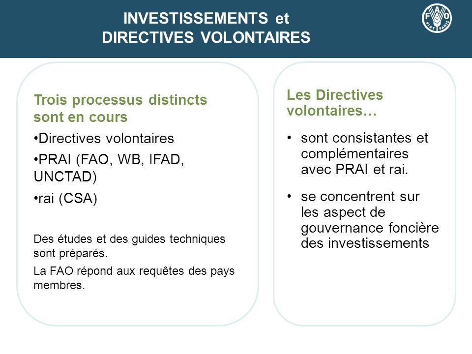 Trois processus distincts sont en cours Directives volontaires PRAI (FAO, WB, IFAD, UNCTAD) rai (CSA) Des études et des guides techniques sont préparé