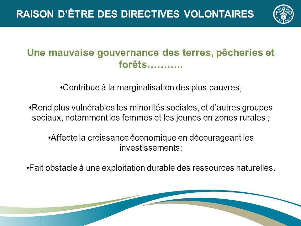 Une mauvaise gouvernance des terres, pêcheries et forêts……….. Contribue à la marginalisation des plus pauvres; Rend plus vulnérables les minorités soc