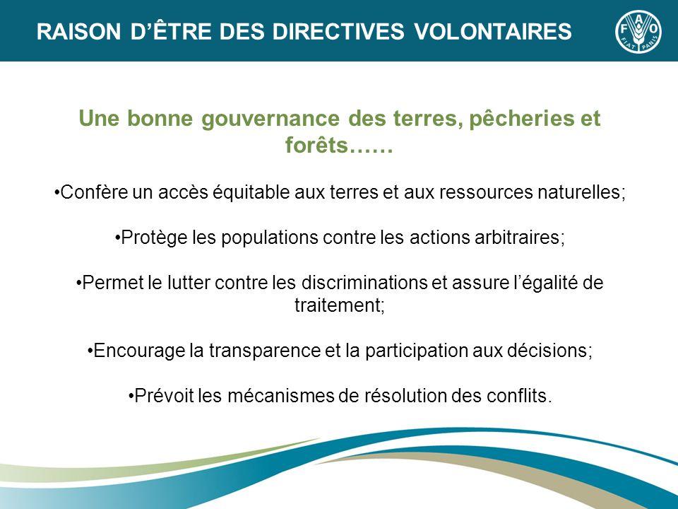 Une bonne gouvernance des terres, pêcheries et forêts…… Confère un accès équitable aux terres et aux ressources naturelles; Protège les populations co