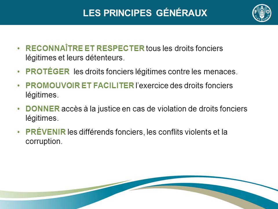 LES PRINCIPES GÉNÉRAUX RECONNAÎTRE ET RESPECTER tous les droits fonciers légitimes et leurs détenteurs. PROTÉGER les droits fonciers légitimes contre