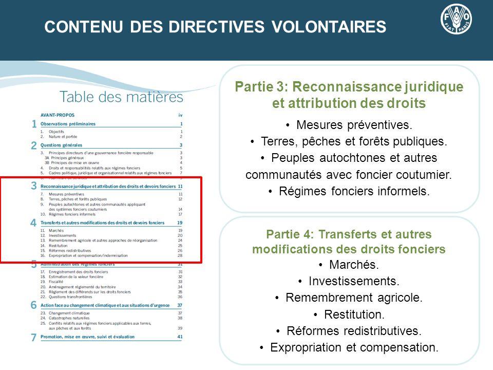 CONTENU DES DIRECTIVES VOLONTAIRES Partie 3: Reconnaissance juridique et attribution des droits Mesures préventives. Terres, pêches et forêts publique