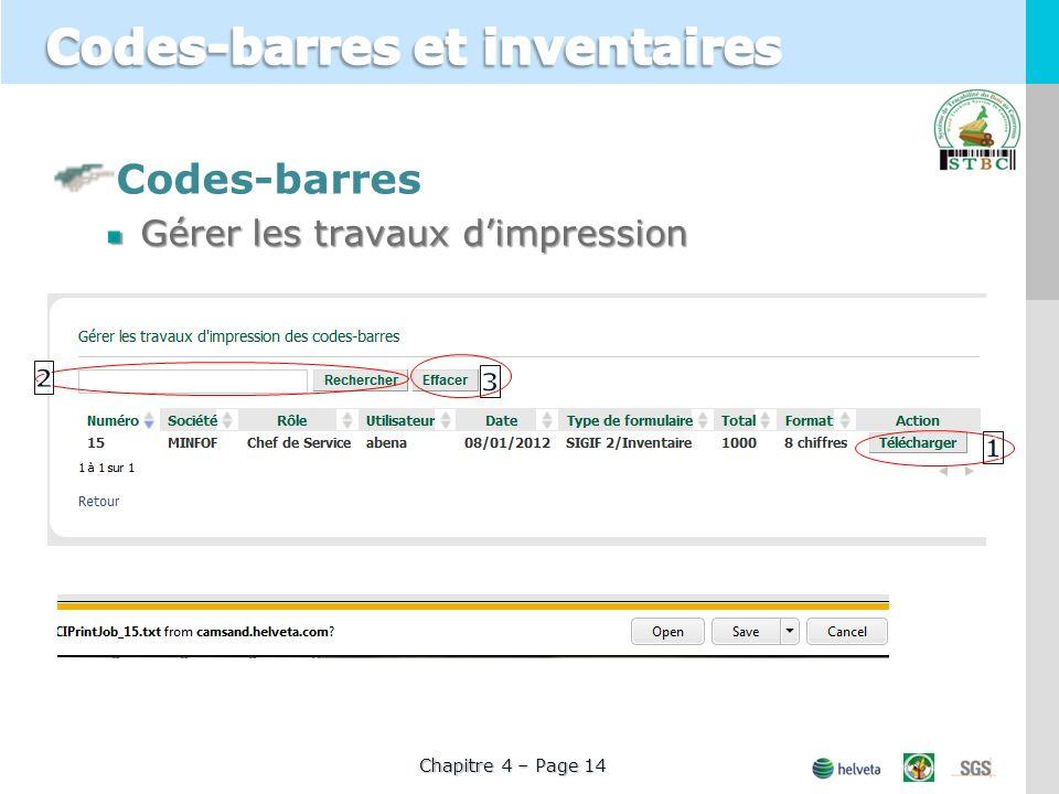 Codes-barres Gérer les travaux dimpression Chapitre 4 – Page 14