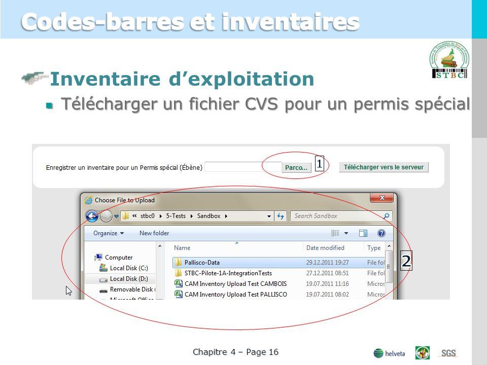 Inventaire dexploitation Télécharger un fichier CVS pour un permis spécial Chapitre 4 – Page 16