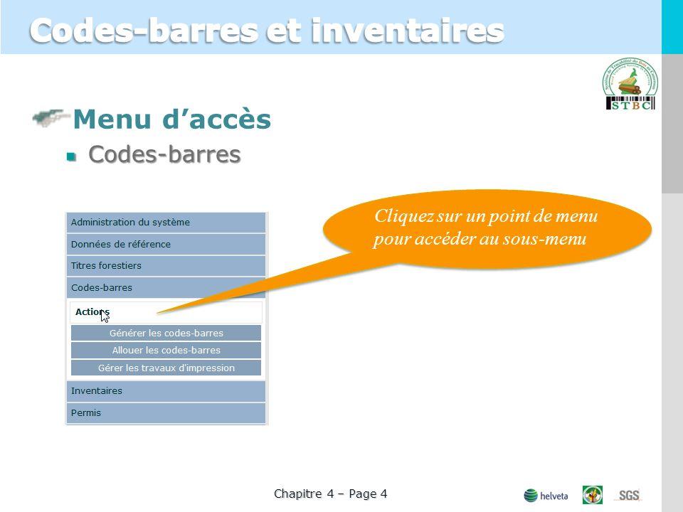 Menu daccèsCodes-barres Cliquez sur un point de menu pour accéder au sous-menu Chapitre 4 – Page 4