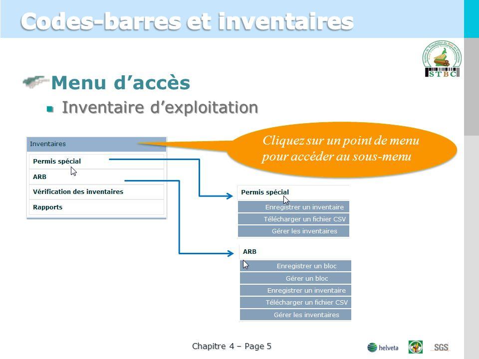Menu daccès Inventaire dexploitation Cliquez sur un point de menu pour accéder au sous-menu Chapitre 4 – Page 5