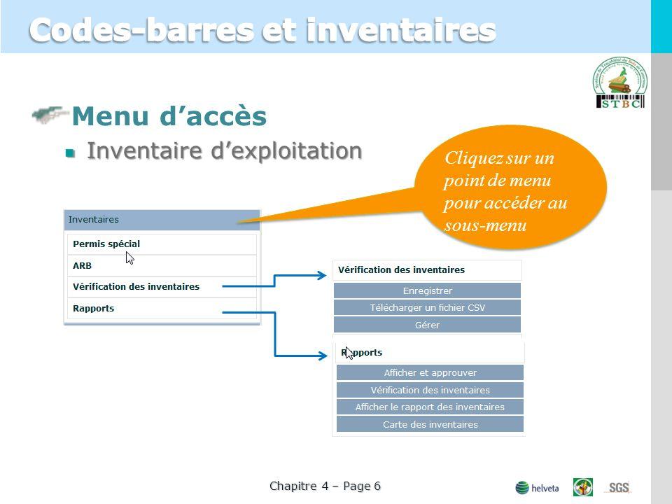 Menu daccès Inventaire dexploitation Cliquez sur un point de menu pour accéder au sous-menu Chapitre 4 – Page 6