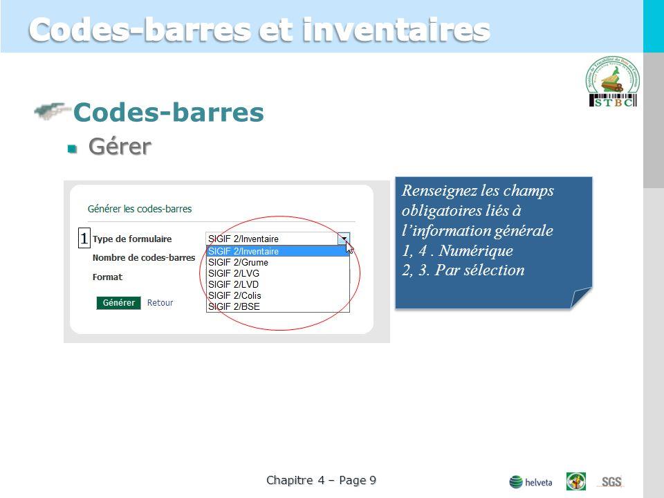 Codes-barresGérer Chapitre 4 – Page 9 Renseignez les champs obligatoires liés à linformation générale 1, 4.