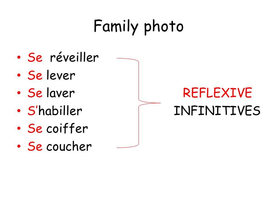 Family photo Se réveiller Se lever Se laverREFLEXIVE Shabiller INFINITIVES Se coiffer Se coucher