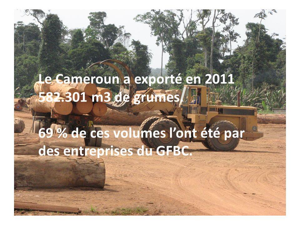 Le Cameroun a exporté en 2011 582.301 m3 de grumes. 69 % de ces volumes lont été par des entreprises du GFBC.
