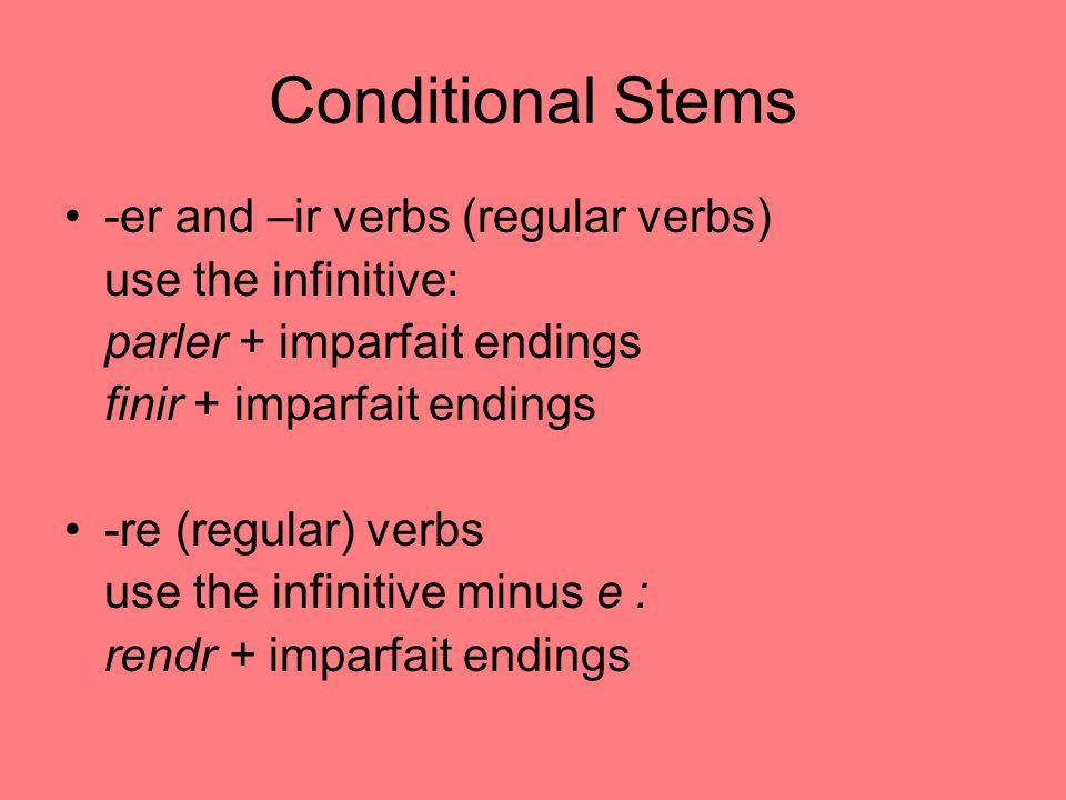 Conditional Formation Parler + ais Rendr + ais ais ais ait ions iez aient