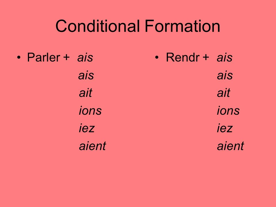 Conditional Formation Parler + ais Rendr + ais ais ais ait ions iez aient