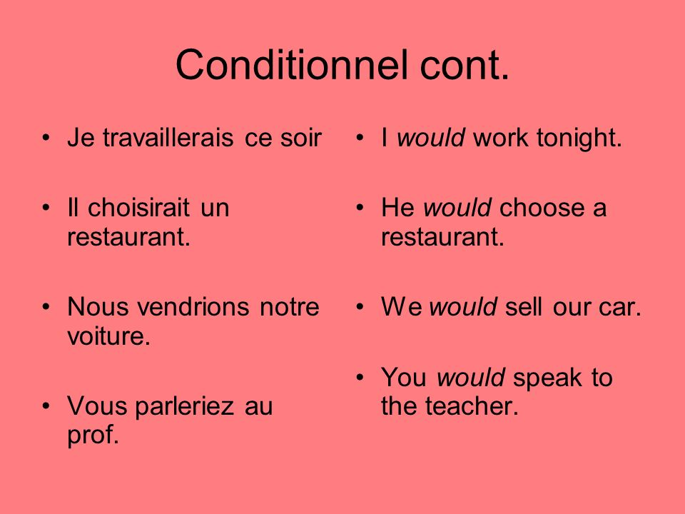 Conditionnel cont. Je travaillerais ce soir Il choisirait un restaurant.