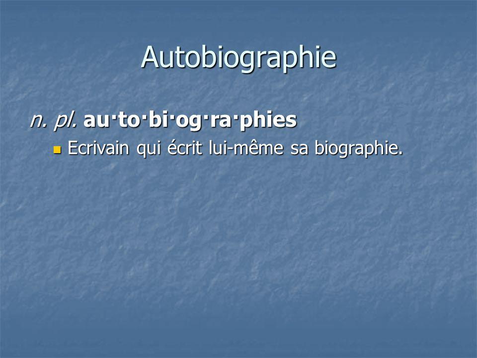 Biographie bi·o·gra·phie / bi·o·gra·phies Livre qui raconte la vie dune personne.